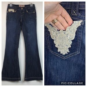 NWOT Candies gold lace pocket flared dressy jeans